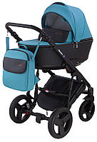 Дитяча коляска 2 в 1 Bair Mirello шкіра 100% М-20/30 блакитний - чорний, фото 1
