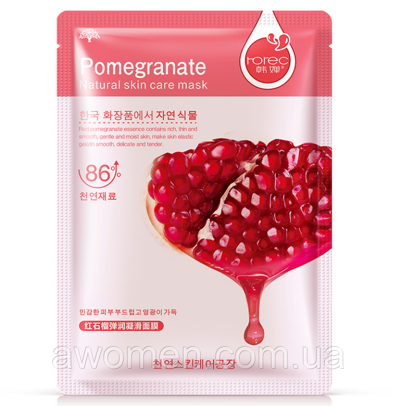 Тканевая маска для лица Rorec Pomegranate с экстрактом граната 30 g