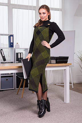 Тепле плаття-сарафан в клітку РІЗНА ЗАБАРВЛЕННЯ В АСОРТИМЕНТІ Розмір універсальний 42-48, фото 2