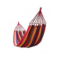 Гамак 200х120 см подвесной, хлопковый, до 180 кг, гамак для дачи, 2х местный гамак