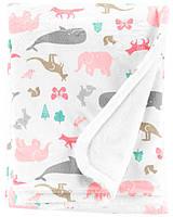 """Плед для новорожденного Carter's белый """"Животные"""", мягкое теплое одеялко плюшевое"""