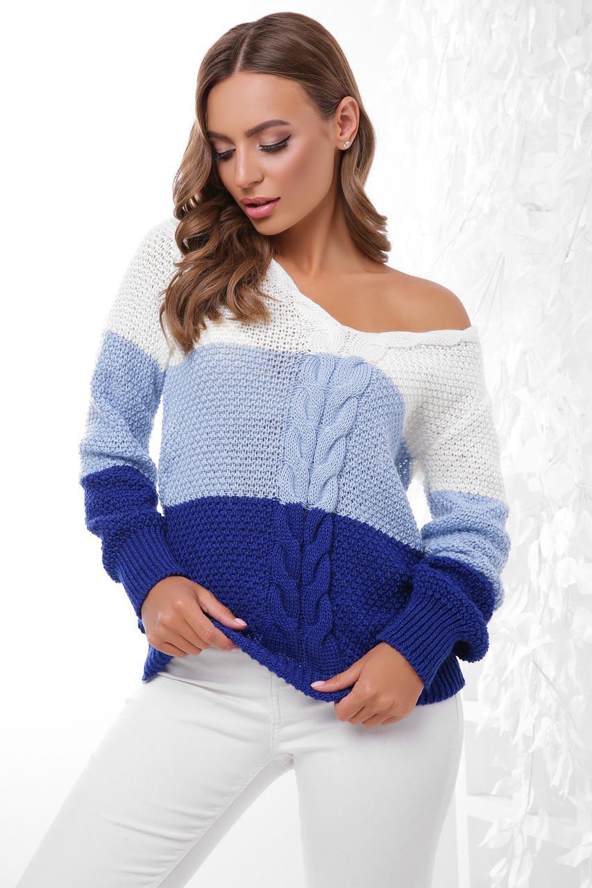 (S-L) В'язаний трьохколірний жіночий светр Orion, молочно-синій
