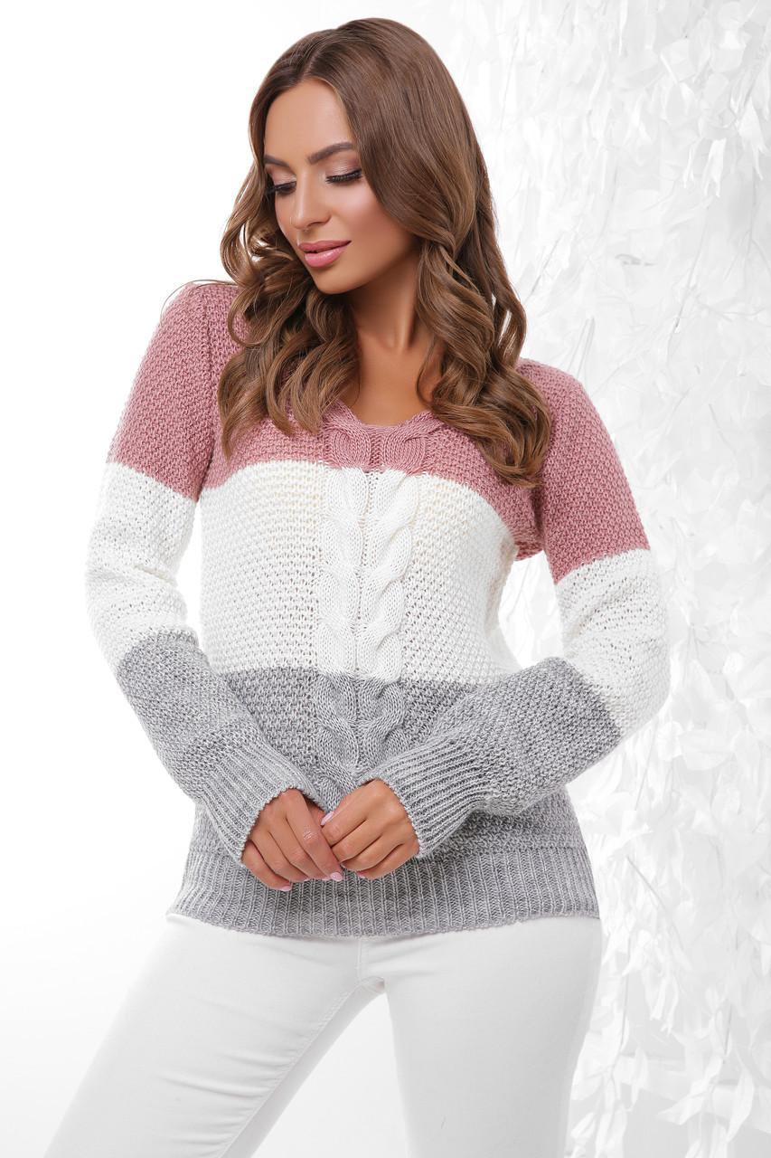 (S-L) В'язаний трьохколірний жіночий светр Orion, рожево-сірий