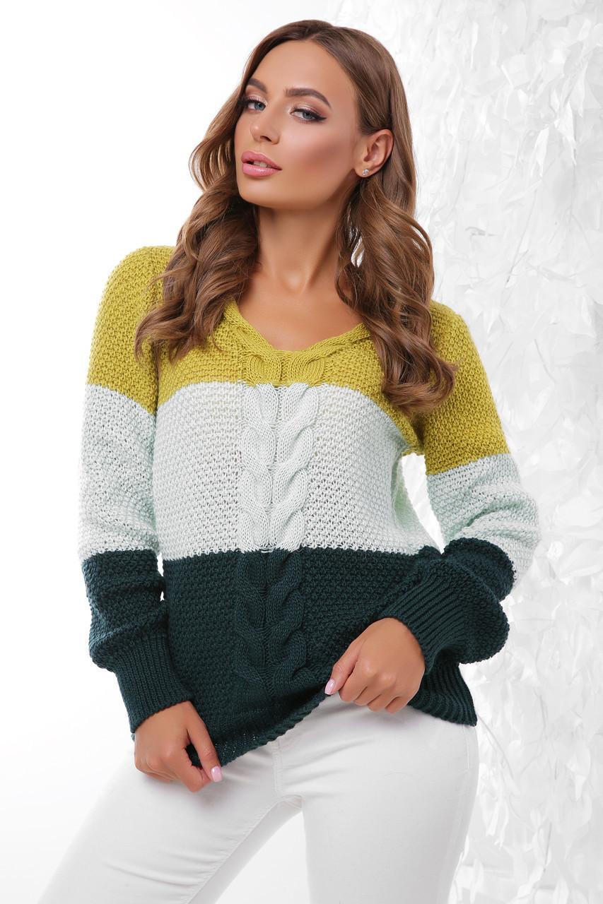 (S-L) В'язаний трьохколірний жіночий светр Orion, оливково-зелений