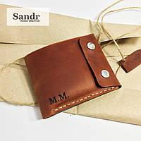 Кожаный мужской кошелёк портмоне цвет коньяк