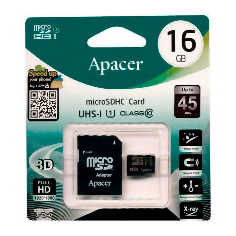 Карта памяти Apacer MicroSDHC 16Gb class 10 R-85 Mb/s (c адаптером SD)
