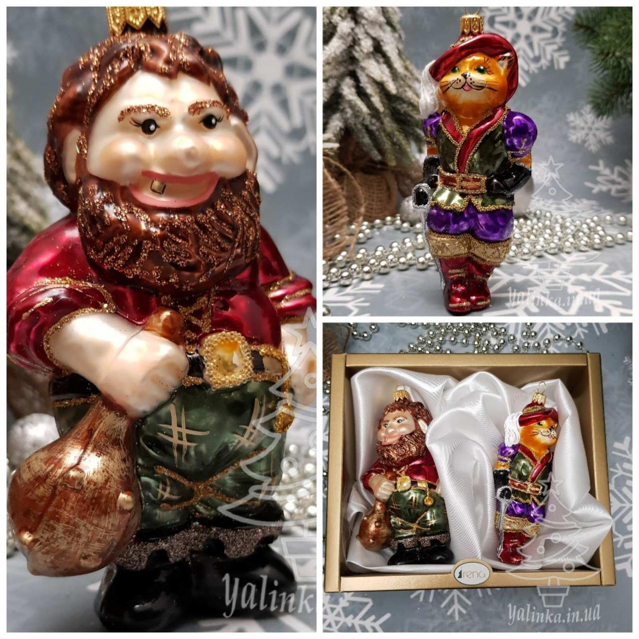 Набор стеклянных елочных игрушек Кот в сапогах и людоед Irena