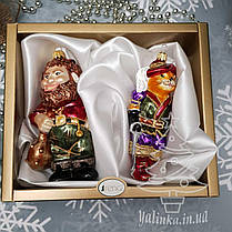 Набор стеклянных елочных игрушек Кот в сапогах и людоед Irena, фото 2