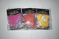 Резиночки для плетения Rainbow Loom 200шт. (разноцветные полосато-белые), фото 1