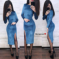 Велюровое женское платье с люрексом миди с разрезом (темно-синий, капучино, бутылка, марсала, чёрный и морская, фото 1