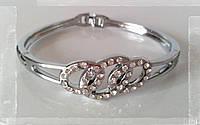 Модный женский посеребренный браслет, украшенный кристаллами