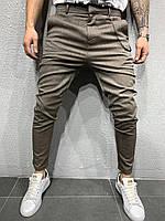 Стильные зауженные брюки оливковым цветом мужские (S M L XL)