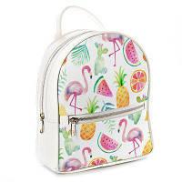 Молодежный рюкзак в школу белый Фламинго и фрукты ERK_TRO017_WH