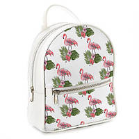 Молодежный рюкзак в школу белый  Фламинго и листья ERK_TRO013_WH