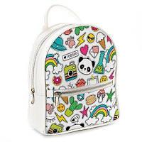 Рюкзак школьный подростковый белый Стикеры ERK_17A037_WH