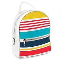 Рюкзак школьный подростковый белый Полоски