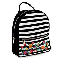 Рюкзак школьный подростковый черный Полоски с цветами