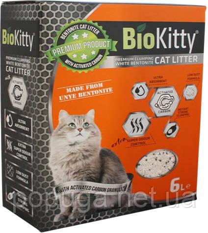 Наполнитель туалетов для кошек BioKitty Super Premium White Activated Carbon 5.1 кг (6 л)