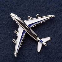 """Брошь """"Самолет"""" 5х4см сине белая эмаль серый металл"""