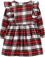 Нарядное платье на длинный рукав для девочки Carter's красное в клеточку. твил 24 мес/83-86 см