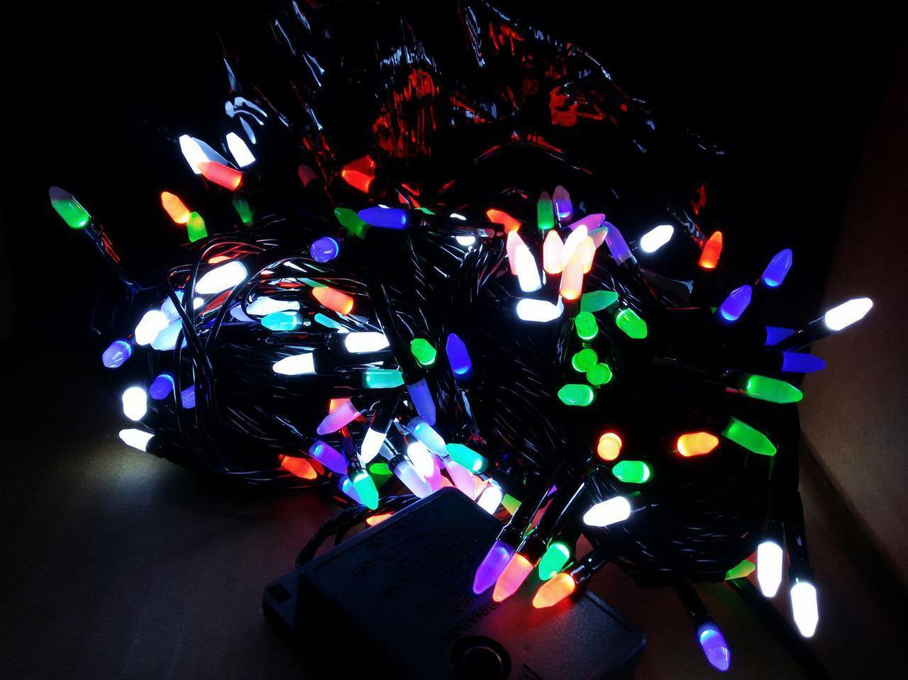 Гирлянда 200 LED ИГОЛКА (РИС) на черном проводе 5mm, разного цвета