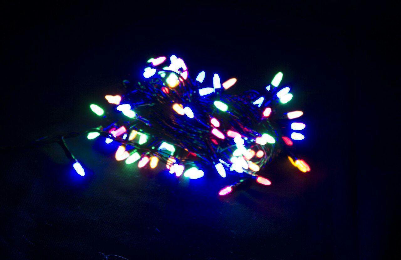 Гирлянда 300 LED ИГОЛКА (РИС) на черном проводе 5mm, разного цвета