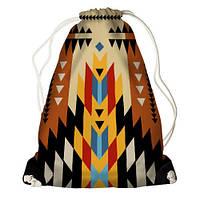Рюкзак мешок женский тканевый с принтом Индийский орнамент
