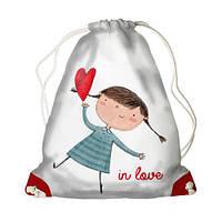 Детский рюкзак-мешок для игрушек,обуви Девочка с сердечком In love