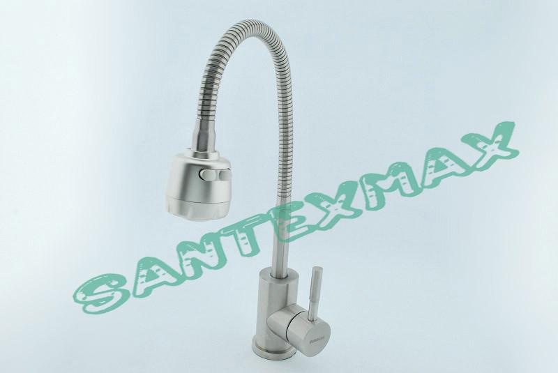 Смеситель для кухни с гибким изливом EuroLux NA 8001 нержавейка New