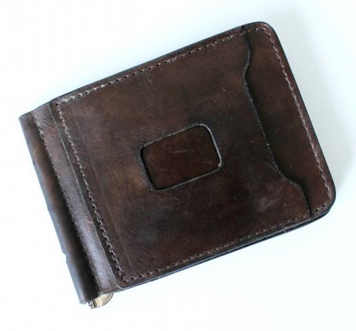Кожаный зажим мужской Abbaiare 20648 коричневый