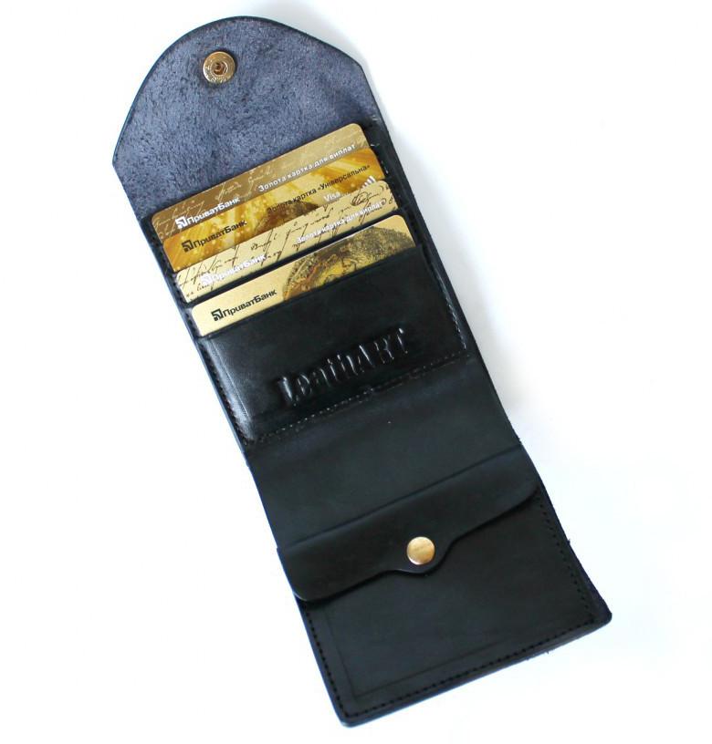 Мужской кошелек из натуральной кожи Denzel 20650 черный
