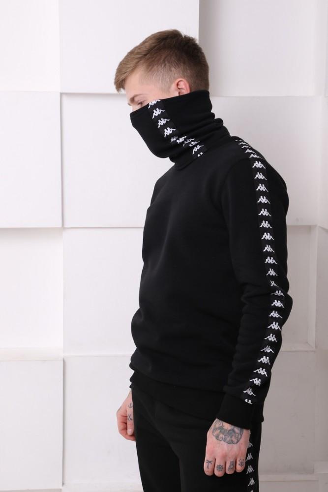 Свитшот утеплённый с лампасами Kappa 20468 чёрный
