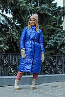 Женское длинное теплое  двухстороннее пальто