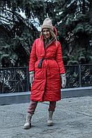 Женский зимний длинный двухсторонний пуховик