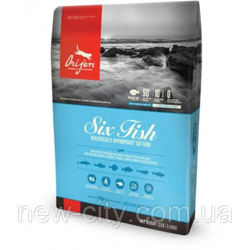 Orijen Adult 6 Fish Гипоаллергенный корм для взрослых собак 11.4 кг