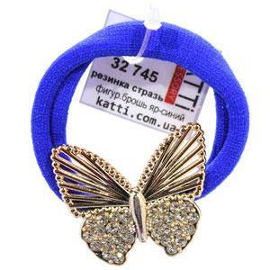 KATTi резинка для волос 32 745 ярко синяя средняя с большой фигурной брошью, стразами, фото 2