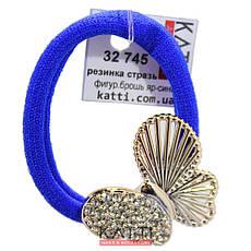KATTi резинка для волос 32 745 ярко синяя средняя с большой фигурной брошью, стразами, фото 3