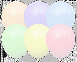 """Латексные шары без рисунка 12"""" (30 см), STD MACARON Ассорти 10 шт"""