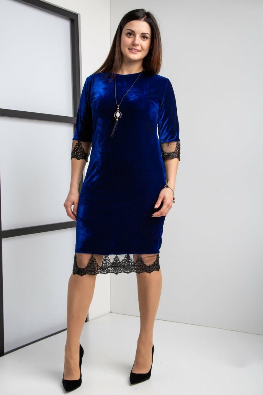 Нарядное женское платье с кружевом (батал)