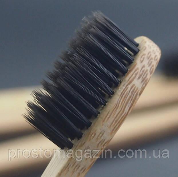 Зубна щітка з бамбука (середня жорсткість щетини) чорна щетина