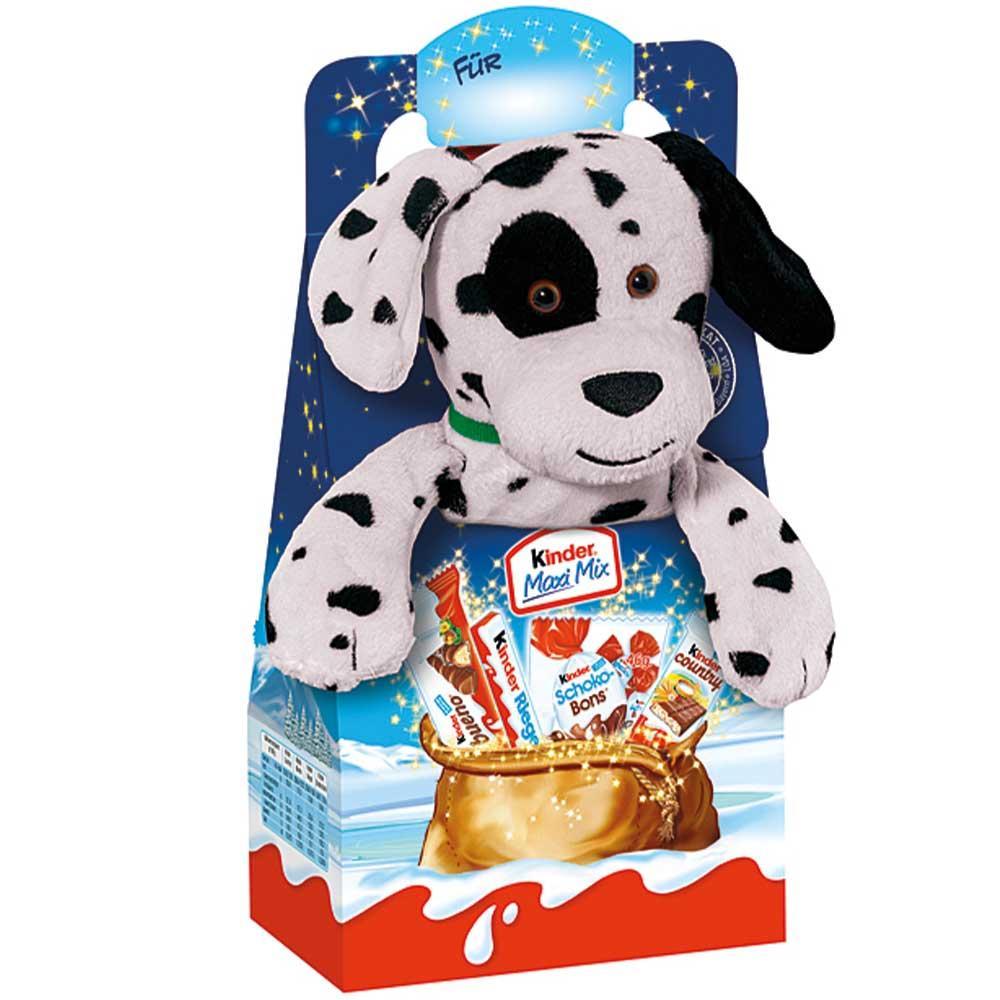 Новорічний набір солодощів Kinder Maxi Mix з м'якою іграшкою (Собачка) 133 р.