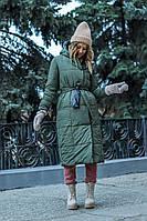 Женское теплое зимнее пальто двусторонее для полных