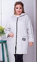 Пальто женское молодежное большого размера  856591-2 серый
