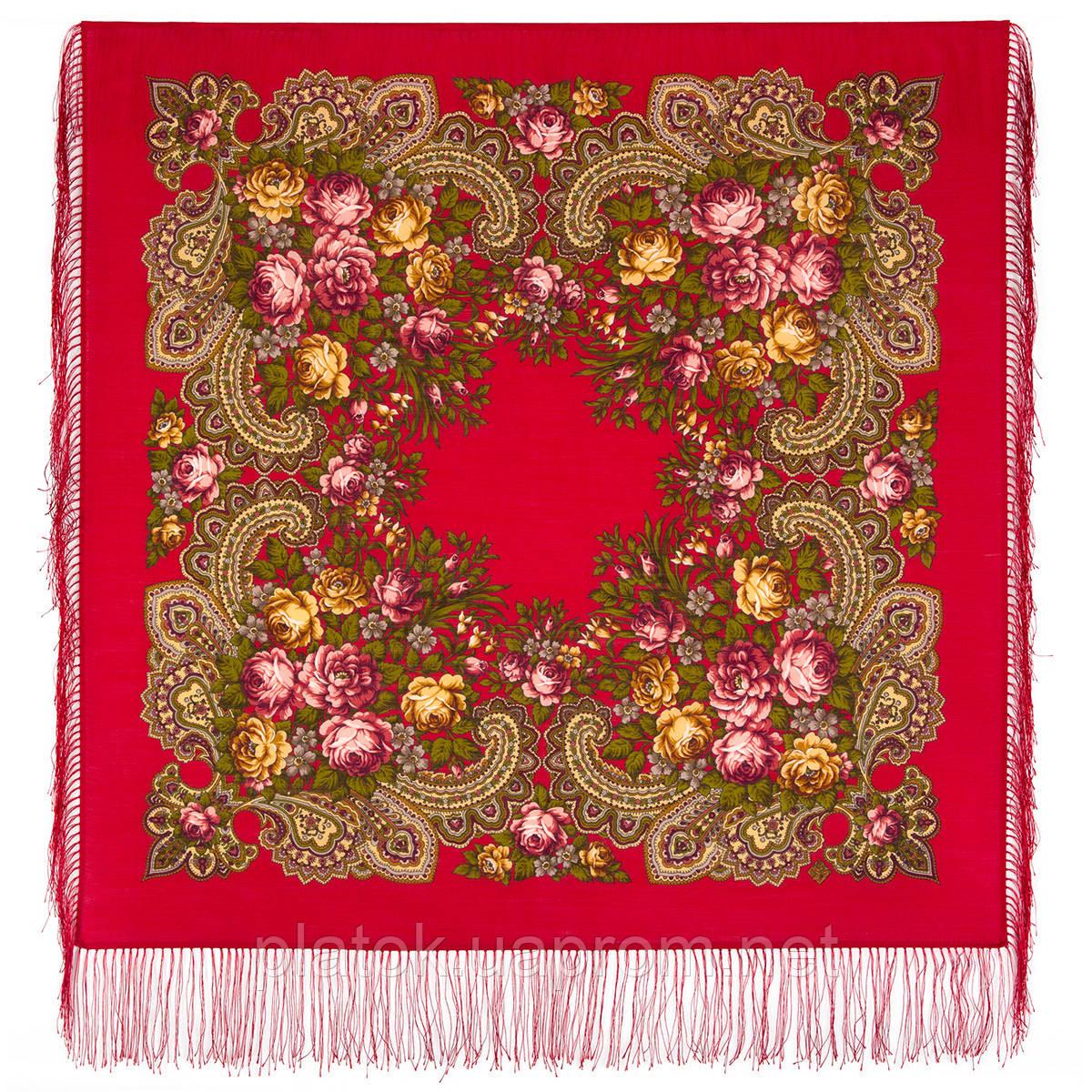 Незнакомка 779-3, павлопосадский платок шерстяной  с шелковой бахромой