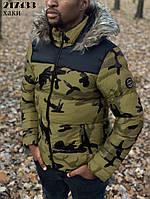 Зимняя мужская куртка милитари с мехом на капюшоне зеленая