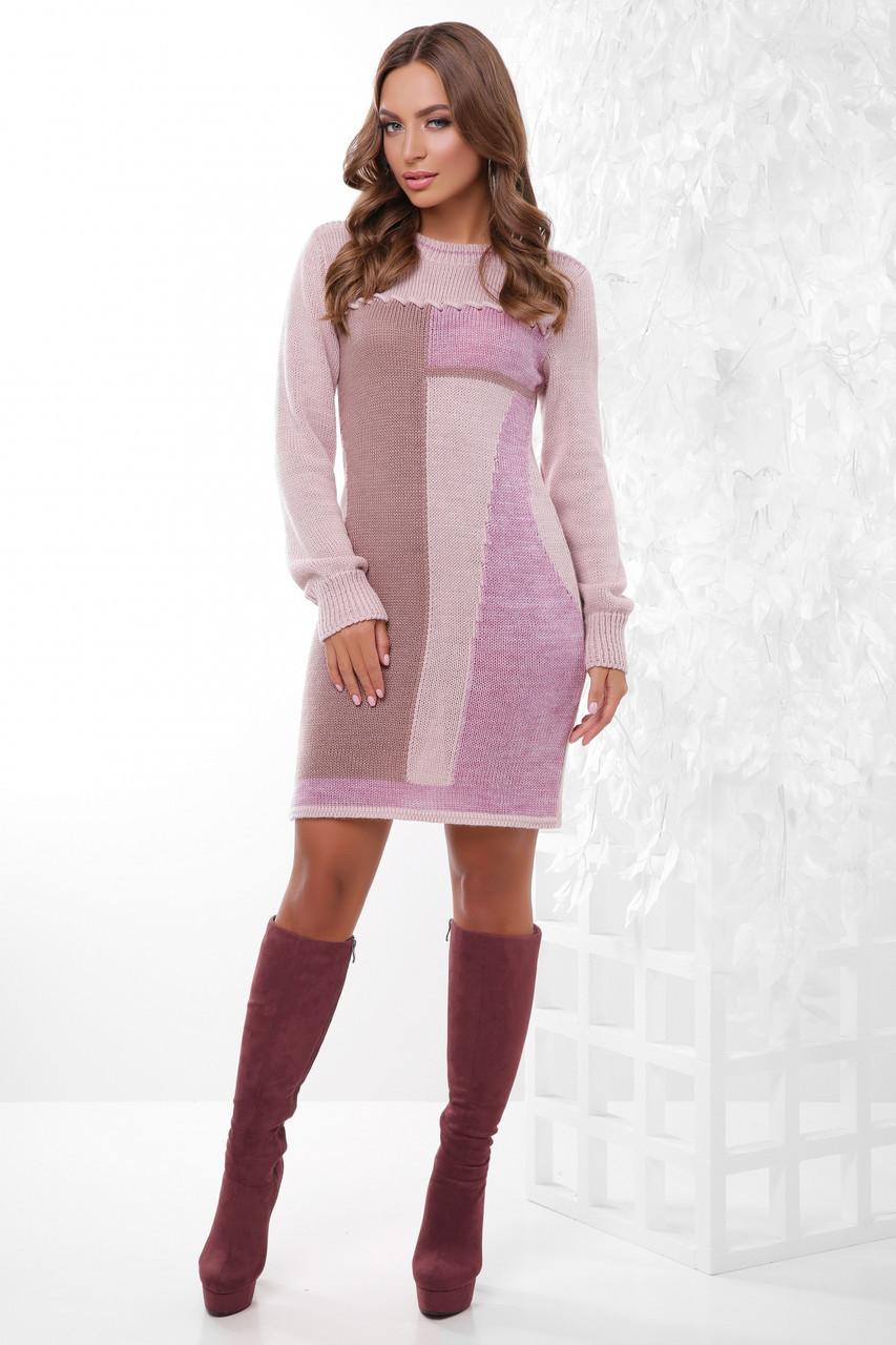 S-L / В'язане жіноче плаття Divalis, пудра