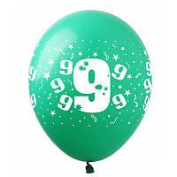 """Латексні повітряні кульки """"Цифра """"9"""", (10шт/уп), SDR-16, ArtShow"""