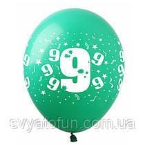 """Латексные воздушные шарики """"Цифра """"9"""", (10шт/уп), SDR-16, ArtShow"""