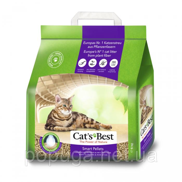 Cat's Best SMART PELLETS - Древесный комкующийся наполнитель для кошачьего туалета (крупная гранула), 5 л