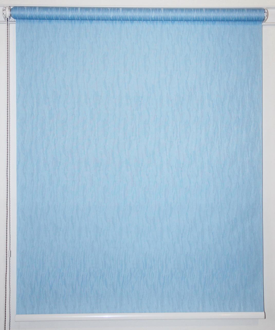 Готовые рулонные шторы 1000*1500 Ткань Лазурь 2074 Голубой